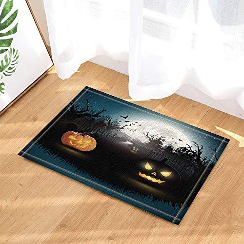 fdswdfg221 Halloween Dekor Horrible Kürbis bei Mondnacht mit Fledermaus Bad Teppiche Rutschfeste Fußmatte Fußbodeneingänge Indoor Haustürmatte Kinder Badmatte Badzubehör