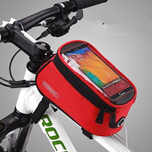 NoyoKere Tasche für Superior-Mobile-Rohr Fahrradrahmen - wasserdicht . PVC-Schlauch mit vorderer transparenter Schutzabdeckung und gepolsterter Stütze für integriertes Telefon. Granatapfel rote