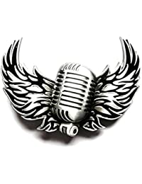 Buckle Mikrofon, Rock Musik, Tattoo, schwarz, Gürtelschnalle
