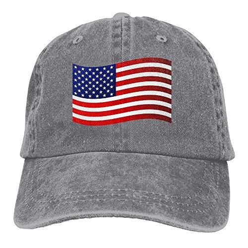 FAVIBES Männer Frauen USA Falg Einstellbare Vintage Baseball Caps Gewaschener Cowboy Gefärbter Denim Hut Unisex