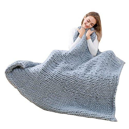 OverDose Hand Chunky Strickdecke Decke Garn Wolle Bulky Knitting Throw Blanket Decke (120*150cm, F-Gray)