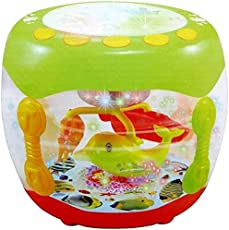 Zaid Collections Aquarium Shaped Flash Drum Rotating 3D Lights & Fishes with Music, Songs and Learn English