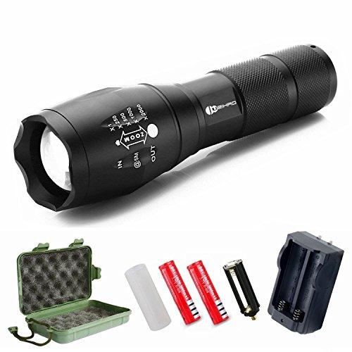 Linterna LED, Juzihao Linternas Táctica Militar Recargable con 5 Modos Zoomable (incluida batería litio 18650 y cargador) Perfecta para Ciclismo,Camping, Montañismo