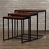 #9: JS Home Decor Sheesham Wood And Iron Nesting Tables For Living Room | Honey Finish | Set of 3 Stools