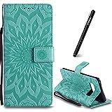 Slynmax Samsung Galaxy Note 8 Leder Hülle,Samsung Galaxy Note 8 Handyhülle Grün Leder Tasche Handyhülle Flip Cover Schutzhülle Lederhülle Ständer Handytasche Flip Wallet Case für Samsung Galaxy Note 8