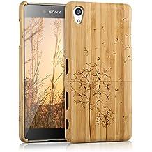 kwmobile Funda para Sony Xperia Z5 Premium - Case protectora de madera bambú - Carcasa dura Diseño diente de león en marrón claro