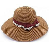 LBY Sombrero De Paja De Yangda Sombrero De Playa De Verano Sombrero De Arco Sombrero De Pescador Señora Sombrero Femenino Verano Protector Solar Sombreros de Sol (Color : Café, Tamaño : 55-57cm)