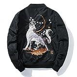 Marke Mens Bekleidung Pilot Jacke Mantel Männer Hip Hop Legere Jacken Männer Wolf Stickerei Schwarz Mantel männliche Oberbekleidung