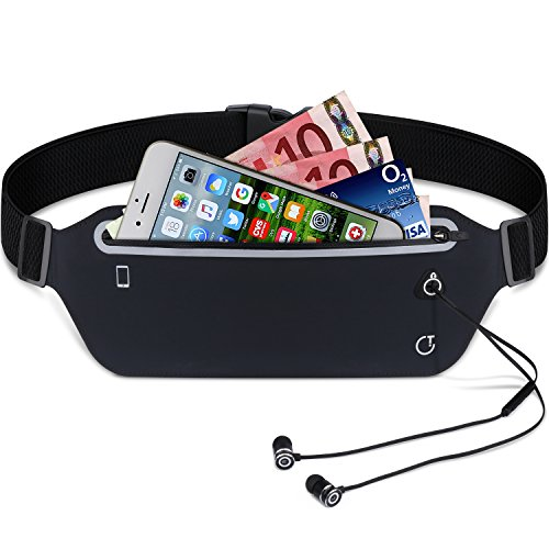 Running Belt,Gritin Fitness Waist Pack Belt W Headphone Hole - Soft Sweat-proof Fabric and Adjustable Elastic Strap Perfect Fit for Waist Curve - Super Comfortable and Convenient for Running and Other Outdoors - Black