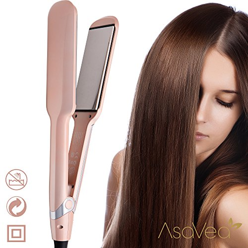 Hair Flat Iron- AsaVea Professional Ceramic Hair straightener, Advanced Infrared Technology Cause Less Damage, Heats Fully In 90 Seconds, Shuts Off Automatically, Styles Your Hair With No Burning