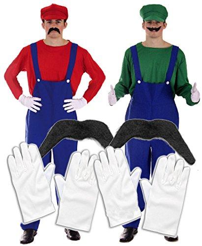 Preisvergleich Produktbild Mario und Luigi Kostüm für Zwei, mit 2Schnurrbärten und 2Handschuhen