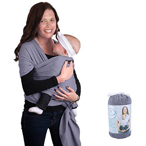 Fular portabebés, ZOGIN portador de bebé para recién nacidos, bebés y niños con material de algodón y spandex, color gris...