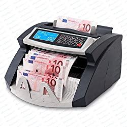 Stückzahlzähler Euro Geldscheine SR-3750 LCD UV/MG/IR von Securina24® (Schwarz - Silber - LCD)