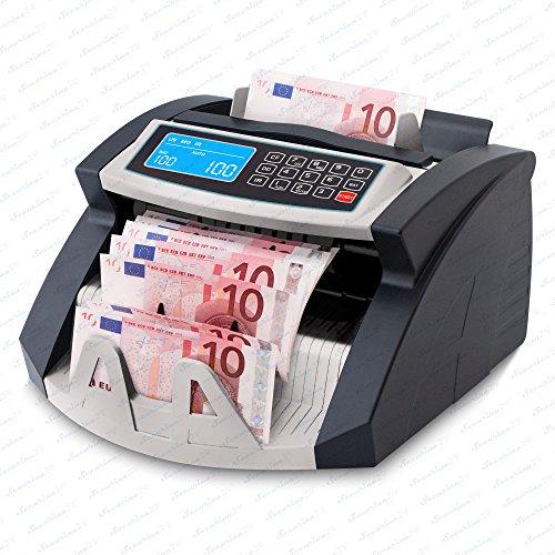 Geldzählmaschine Geldzähler Geldscheinzähler SR-3750 LCD UV/MG/IR von Securina24® (Schwarz - Silber - LCD)