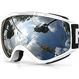 findway Maschera da Sci per Occhiali da Vista Uomo Donna Snowboard Goggles,Anti Nebbia UV (Bianca Argento VLT 21%)