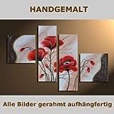 HANDGEMALT: 4 LEINWANDBILDER BILDER [MOHN 3] 100 x 70cm. Bilder auf Holzrahmen gespannt und und kann SOFORT aufgehangen werden!
