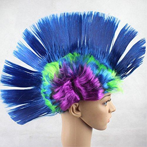 Ocamo Colorida Peluca de Estilo mosigan, Cabeza de Gallo Punk Rock, decoración de Fiesta de Halloween Arcoiris Azul A