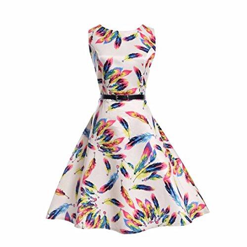 Mädchen Prinzessin Kleid Sannysis Kid Kind Mädchen Feder Print Hochzeit Sommer Prinzessin Kleid + Gürtel Kleidung (Weiß, 150) (Kurze Mädchen Federn)