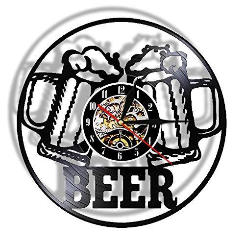 xuyuandass Wanduhren,Uhren Vintage Eiswein Bier Led Vintage Wandkunst Bar Bar Club Prost Alkohol Schallplatte Home Casino Dekoration Modernen Stil Gut Für Zuhause Küche Wohnzimmer Schlafzimmer