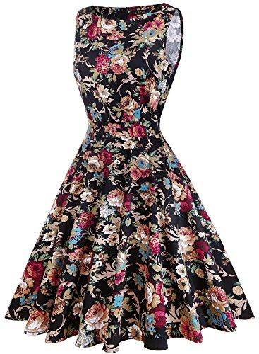 IHOT Elegant Damen 1950er Retro Vintage Floral Party Cocktailkleider Abendkleider Sommerkleid Knielang Dunkles Aprikosen-Blumen