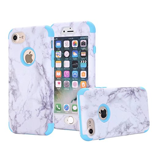 iPhone 5S Hülle, Lantier [Marble Series] Drop Protection Hybrid Slim Heavy Duty Dual Layer Verge Shockproof Hard PC Silicone Full-Body Protective Armor Defender Case für Apple iPhone SE 5 5S Silver Blau