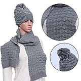 LEORX Damen Winter gestrickt verdicken Hut Mütze und Schal Set  (grau)