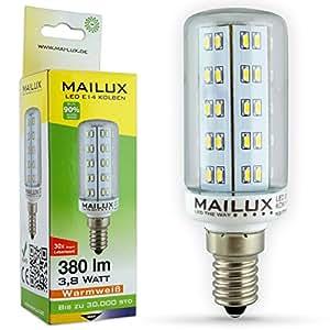 Mailux LED Kolben 3,8 Watt E14 warmweiß