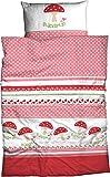 "ADELHEID Kinder-Bettwäsche ""Glückspilz"" Renforcè, 100x135 cm + 40x60 cm, 2er Set, Herz 673, rosa-rot"