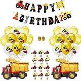 Festa di Compleanno di Costruzione Bomboniere, con Banner di Compleanno Camion Palloncini Cupcake Topper per Bambini Trattore Scavatrice Bulldozer Decorazione di Festa