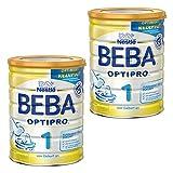 Nestlé BEBA Optipro 1, Säugling Milch, Babynahrung, Anfangsmilch von Geburt an, Dose, 2 x 800 g, 12344740