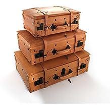 Juego de 3 maletas cuero Vintage