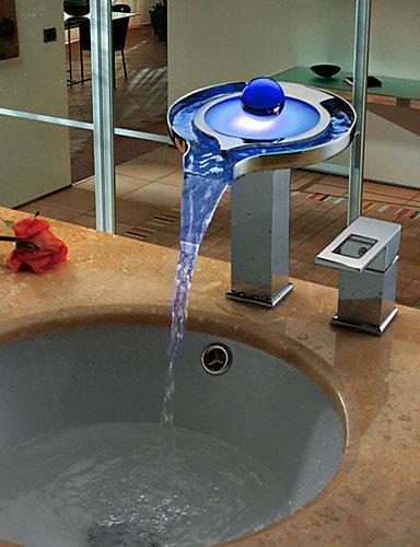 KISSRAIN® Chrome contemporanea ottone personalizzati maniglia Due fori LED lavandino rubinetto del bagno - Argento