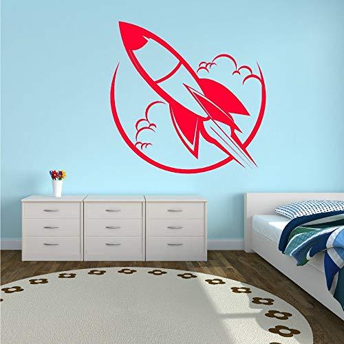 xingbuxin Top Mode Neue Cartoon Wand Rauch Auspuff Fliese Inner Marathon Raumschiff Kinder Vinyl Wandaufkleber rot 58 x 58 cm