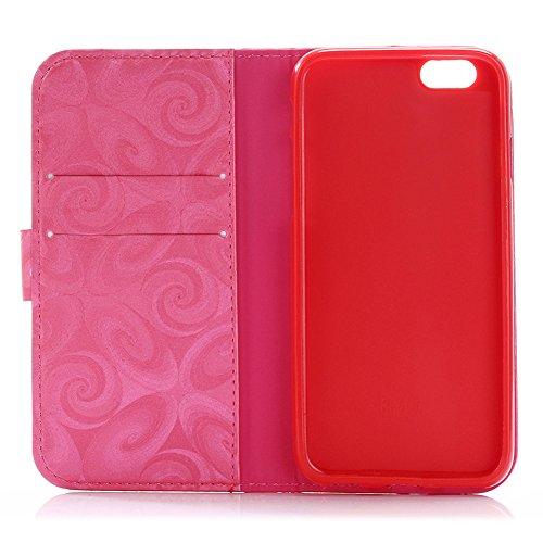 TOCASO- Wallet Ledertasche Schutzhülle für Apple iphone 6 Plus / 6S Plus Hülle Briefcase PU Leder Tasche Flip Cover Case Etui Brille Schwarz Muster Bunt Brieftasche Lederhülle im Bookstyle Ultra Slim  Brille,Rose Red