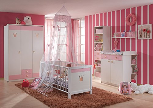 Dreams4Home Babyzimmer 'Princess XL', Babyzimmerkombination, Babyzimmer komplett, Babybett, Wickelkommode, rosa, Bettseiten