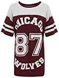 Verrückte Mädchen-Frauen Amerikanischer Baseball Chicago 87 Wölfe sackiges T-Shirt Spitze 36-42 (M/L-EU40/42, Wein)