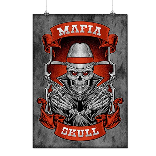Mafia Schädel Cool Gangster Mattes/Glänzende Plakat A3 (42cm x 30cm) | (Kostüme Film Die Schädel Stadt)