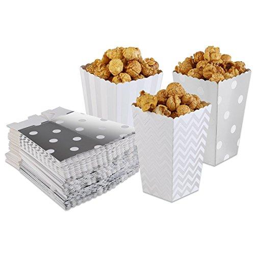 Pixnor Popcorn Boxen Party Candy Tasche Treat Boxen Silber 50Stück