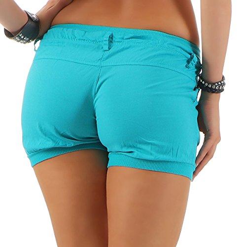 malito Damen Shorts in Unifarben | lässige kurze Hose | Bermuda für den Strand | Pants �?Hotpants 6089 Türkis