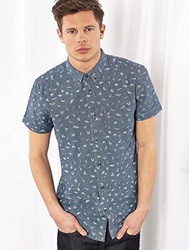 Wrangler Homme Fish Print Shortsleeved Shirt, Bleu Bleu