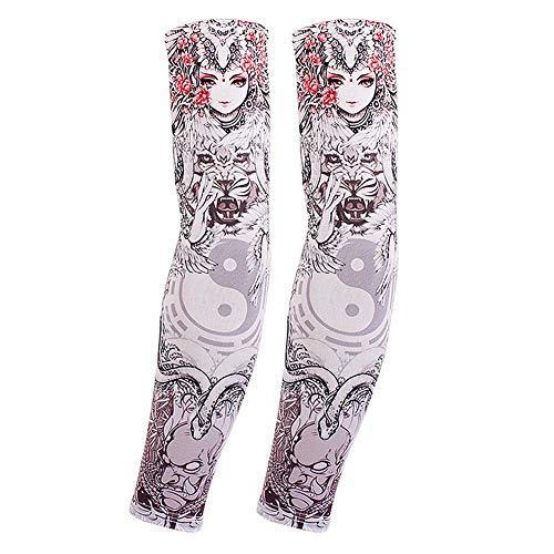 toos Unisex-Mode Nylon gefälschte temporäre Tätowierung Ärmel Arm Strümpfe Halloween Tattoo Outdoor-Sportarten UV-Schutz (Color : B) ()