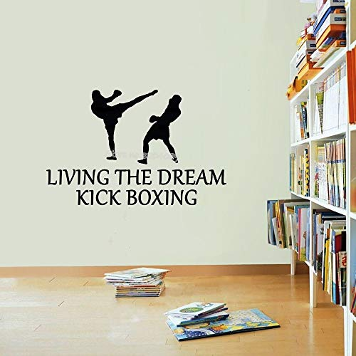 Living The Dream Kickboxen Zitate Wandaufkleber Sport Kampf MMA Boxing Aufkleber Taekwondo Martial Sport Gym Dorm Poster 87X56CM