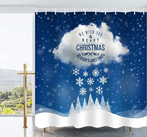 Ao blare Weihnachts-Dekoduschvorhang, Rentier-Motiv, Weihnachts-Dekoration, Duschvorhang mit Haken, 182,9 x 182,9 cm 72X72Inch blau (1)
