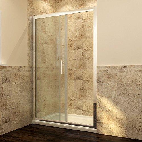 Schiebetür – Duschabtrennung mit Glas links und rechts - 3