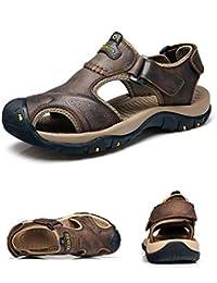 T-Gold Sandalias de Cuero para Hombre Verano Deportivas Punta Cerrada Trekking