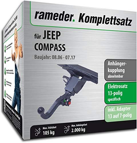Rameder Komplettsatz, Anhängerkupplung abnehmbar + 13pol Elektrik für Jeep Compass (114280-05605-2) (Jeep Compass Anhängerkupplung)