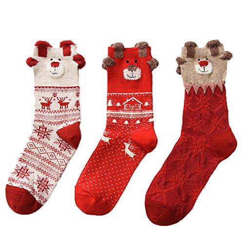 JAYSLE 3 Paar Damen Warm Weihnachtssocken Baumwolle ()