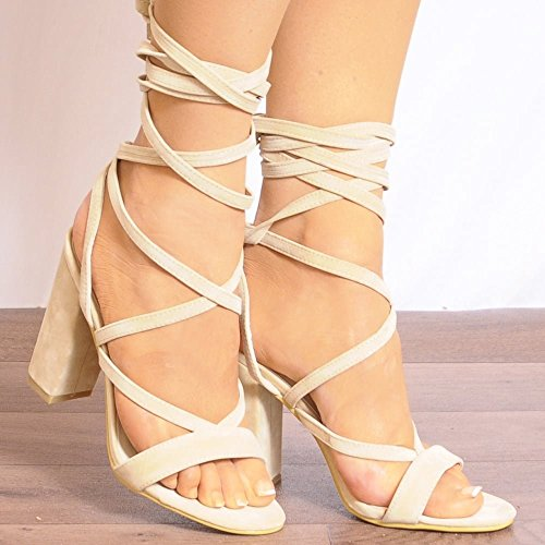 Womens Lacets Nue Enveloppement Rond Peep Toes Strappy Sandals Chaussures Hauts Talons Nude