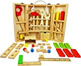 #3: PIGLOO Wooden Carpenter Tool Box Play Set, 1 Piece