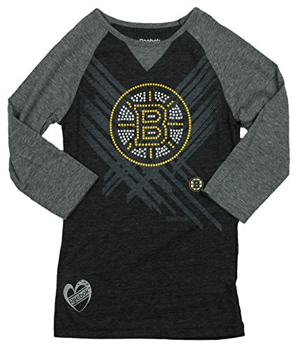 Reebok Nhl Boston Bruins Big Girls Youth Sleeve Raglan 3/4 Tee, Grey, Größe L, grau (Youth Tee Sleeve)
